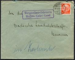 (1833) Brief Deutsches Reich, Hindenburg Vom 29.4.1933 Landpost BERGNASSAU - SCHEUERN NASSAU (Lahn) Land, Super Beleg - Deutschland