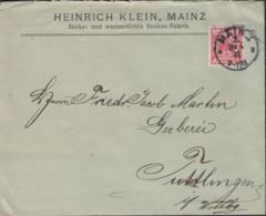 DR 47 D EF Auf Brief Der Fa. Heinrich Klein, Säcke Und Wasserdichte Decken, Mit Stempel: Mainz 1 - 26.4.1897 - Germany