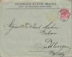 DR 47 D EF Auf Brief Der Fa. Heinrich Klein, Säcke Und Wasserdichte Decken, Mit Stempel: Mainz 2 - 29.4..1897 - Germany