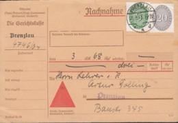 DR Dienst 115, 126 MiF, Auf Nachnahme-Karte Mit Stempel Prenzlau 1.3.1935 - Oficial