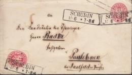 PREUSSEN U 26 A + ZFr. 16 A, Brief Mit Stempel (R2): Schubin 15.6. - Preussen