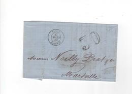 France >  Marcophilie 1849-1876-TENEZ ALGERIE POUR MARSEILLE  27 MARS 1860 - Marcophilie (Lettres)