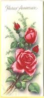 Tematica - Fiori - Rose - Biglietto Augurale 3D - Heureux Anniversaire - Mazzo Di Rose - Vecchi Documenti