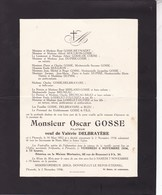PERUWELZ Oscar GOSSE Filateur Veuf DELBRAYERE 1852-1936 - Obituary Notices