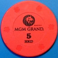 HK$5 Casino Chip. MGM Grand, Macau. N39. - Casino