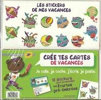 Lot De Deux Cartes Entier Postal Neuf Sous Blister - 12 Stickers Auto Collants - Vacances . - Entiers Postaux