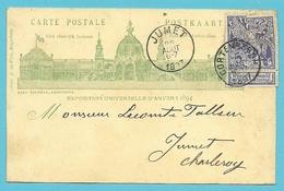 71 Op Geillustreerde Kaart EXPO ANVERS 1894 Met Stempel CORTENBERGH 1897 - 1894-1896 Expositions