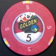 $5 Casino Chip. Golden Island, Shihanoukville, Cambodia. N41. - Casino
