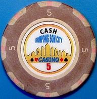$5 Casino Chip. Kampong Som City, Sihanoukville, Cambodia. N42. - Casino