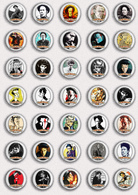 35 X Tom Waits Music Fan ART BADGE BUTTON PIN SET 1 (1inch/25mm Diameter) - Music