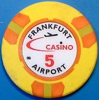 DM5 Casino Chip. Frankfurt Airport, Frankfurt, Germany. N42. - Casino