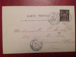 Cachet Arrivee Bleu La Varenne Saint Hilaire Sur Cpa POISSY 1901 - Bolli Manuali