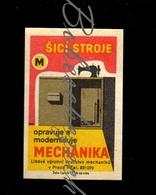 C158 CZECHOSLOVAKIA 1962 Mechanika Praha Production Cooperative Repair - Sewing Machine - Zündholzschachteletiketten