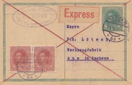 Österreich: 1917: Ganzsache Express Von Wien Nach Aue - 1850-1918 Empire