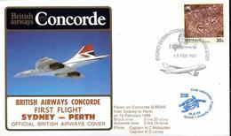 BRITISH AIRWAYS - CONCORDE FIRST FLIGHT SYDNEY - PERTH 1985 - First Flight Covers