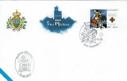 FDC SAN MARINO 1999 50 ANNIVERSARIO CROCE ROSSA SAMMARINESE - 50 ANNIVERSAIRE DE LA CROIX-ROUGE SAMMARINESE - CHEVAL - Cruz Roja