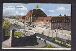 CPA ALLEMAGNE - DORTMUND - Hauptbahnhof - TB PLAN GARE CHEMIN DE FER + TB TRAMWAY TRAIN - Dortmund