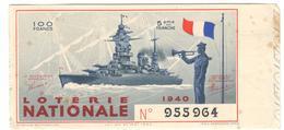 13117 - MARINE NATIONALE  1940 - Billets De Loterie