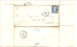 MARNE (49) LAC   (écrite à VILLERS AUX BOIS)   OBLI  PC 210  AVIZE  Pour PARIS + OR - 1849-1876: Klassik