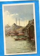 TURQUIE-STANBOUL-lmosquée Yent Djami -et Le Pont -illustrée  KUDNI - A Voyagé En 1936  édition  Traldi - Turquie