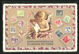 AK Briefmarkensprache, Engel Klebt Briefmarke Auf Einen Brief - Stamps (pictures)