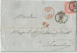 SAVOIE CACHET ENTREE ROUGE ITALIE ST MICHEL 1864 LETTRE TORINO POUR CHAMBERY COTE 60€ - 1849-1876: Klassik