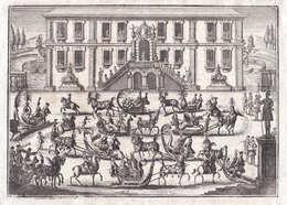 Schlitten Carriage Horses Schlittenpferde Palast Palast Reiter Rider Kupferstich Copper Engraving Antique Prin - Stiche & Gravuren