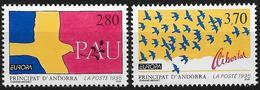1995 Andorra FR. ANDORRA FRANCESA Mi. 477-8 **MNH EUROPA : Frieden Und Freiheit - Andorre Français