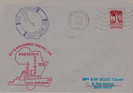 RARE LETTRE POSTE NAVALE T C D OURAGAN PRESENCE CORYMBE VIII TELETHON 1992 - Marcophilie (Lettres)