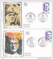 L4L156 France 1990 FDC De Gaulle  Lille, Paris 24 02 1990  / 2 Env  Ill. - FDC