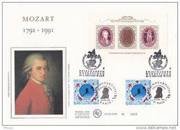L4L096 France 1991 FDC Mozart Cachet Comm. GF Paris 09 04 1991  Blois 26 04 1991  Wien 22 03 1991 / Grande Enveloppe Ill - Emissions Communes