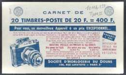 France Carnets  N° 1011 B-C39 20f M. De Muler Type II (S9-57) Daté Qualité: ** Cote: 360 € - Freimarke