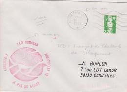 RARE LETTRE POSTE NAVALE TC D OURAGAN CORYMBE V A PAS DE GEANT 1992 - Marcophilie (Lettres)