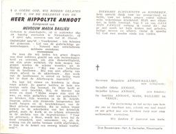 Devotie - Doodsprentje Overlijden - Oudstrijder Hippolyte Annoot - Oudekapelle 1897 - Nieuwkapelle 1962 - Obituary Notices