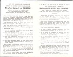 Devotie - Doodsprentje Overlijden - Marie Irma Gombert - Menen 1883 - 1964 - Obituary Notices