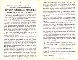 Devotie - Doodsprentje Overlijden - Gabrielle Wauters - Assenede 1899 - Reninge 1967 - Obituary Notices