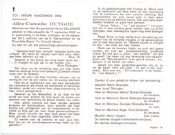 Devotie - Doodsprentje Overlijden - Alice Huyghe - Nieuwkapelle 1886 - 1972 - Obituary Notices