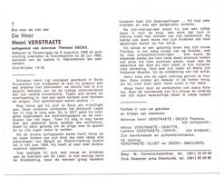 Devotie - Doodsprentje Overlijden - Oudstrijder Henri Verstraete - Roesbrugge 1898 - Nieuwkapelle 1980 - Obituary Notices
