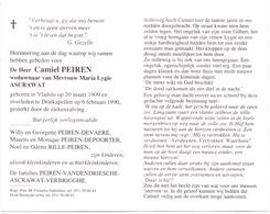 Devotie - Doodsprentje Overlijden - Camiel Peiren - Vladslo 1909 - Driekapellen 1990 - Obituary Notices