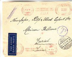 Lettonie - Devant De Lettre De 1940 - Oblit Riga - EMA - Empreintes Machines - Exp Vers Zurich - Lettonie