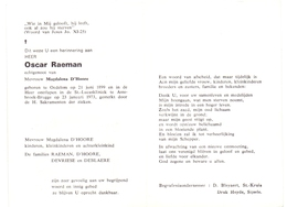 Devotie - Doodsprentje Overlijden - Oscar Raeman - Oedelem 1899 - Assebroek 1973 - Obituary Notices