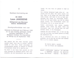 Devotie - Doodsprentje Overlijden - Leon Janssens - Stabroek 1930 - Wilrijk 1996 - Obituary Notices