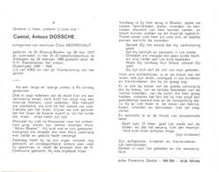 Devotie - Doodsprentje Overlijden - Oudstrijder Camiel Dossche - St Blasius Boekel 1912 - Zottegem 1985 - Overlijden