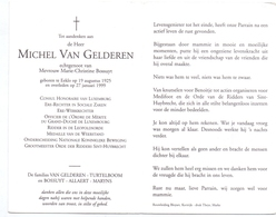 Devotie - Doodsprentje Overlijden - Ere Rechter - Consul Michel Van Gelderen - Eeklo 1925 - 1999 - Obituary Notices
