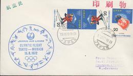 3367  Carta Tokyo, 1972,Japan Air Lines Olympic Flight Tokyo-Munich , 1º Vuelo - 1926-89 Empereur Hirohito (Ere Showa)