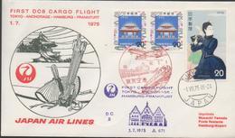 3367  Carta Tokyo, 1975 ,Japan Air Lines ,Tokyo-Anchorage-Hamburg-Frankfurt, 1º Vuelo , - 1926-89 Empereur Hirohito (Ere Showa)