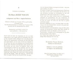Devotie - Doodsprentje Overlijden - Jozef Nocon - Eisden 1929 - Torhout 1996 - Obituary Notices