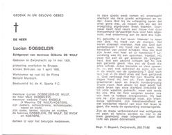 Devotie - Doodsprentje Overlijden - Lucien Dobbeleir - Zwijndrecht 1929 - Brugge 1985 - Obituary Notices