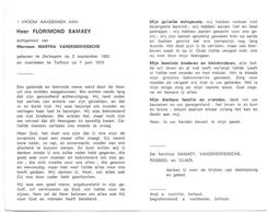 Devotie - Doodsprentje Overlijden - Florimond Samaey - Zerkegem 1903 - Torhout 1972 - Obituary Notices