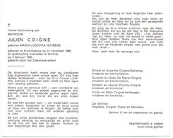 Devotie - Doodsprentje Overlijden - Julien Coigné - Erps Kwerps 1890 - Kortrijk 1985 - Overlijden